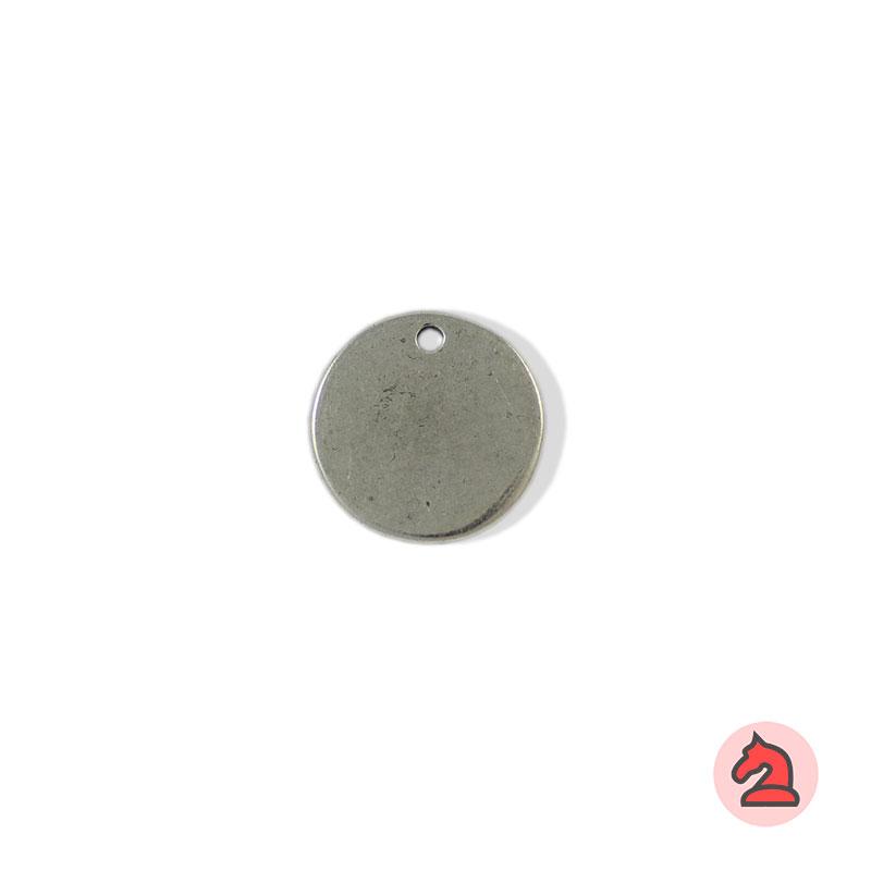 Chapa personalizable redonda 18 - Paquete de 30 unidadesTamaño aproximado 18 mm, grosor: 1.5 mm, agujero para cordón de 2 mm