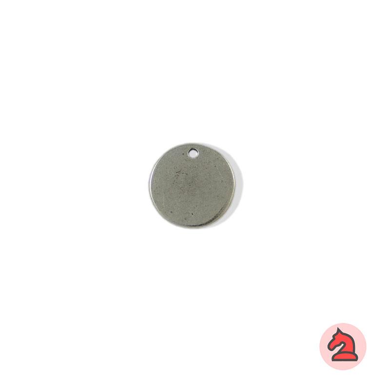 Chapa personalizable redonda 15 - Paquete de 30 unidadesTamaño 15 mm, grosor: 1.5 mm, agujero para cordón de 2 mm