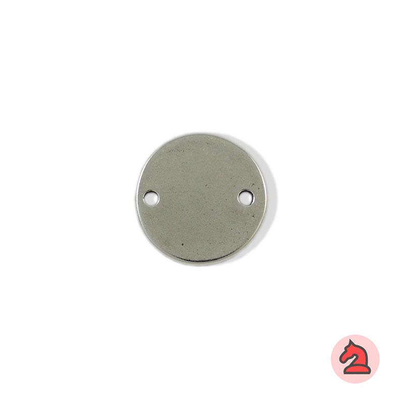 Chapa personalizable redonda 22 - Paquete de 30 unidadesTamaño aproximado 22 mm, grosor: 1.4 mm, 2 agujero para cordón de 2,5 mm