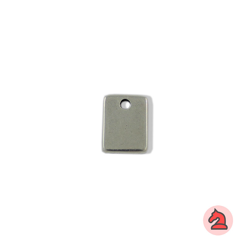 Chapa personalizable rectangular - Paquete de 30 unidadesTamaño aproximado 16X12 mm, grosor: 1.8 mm, anilla para cordón de 2,5 mm