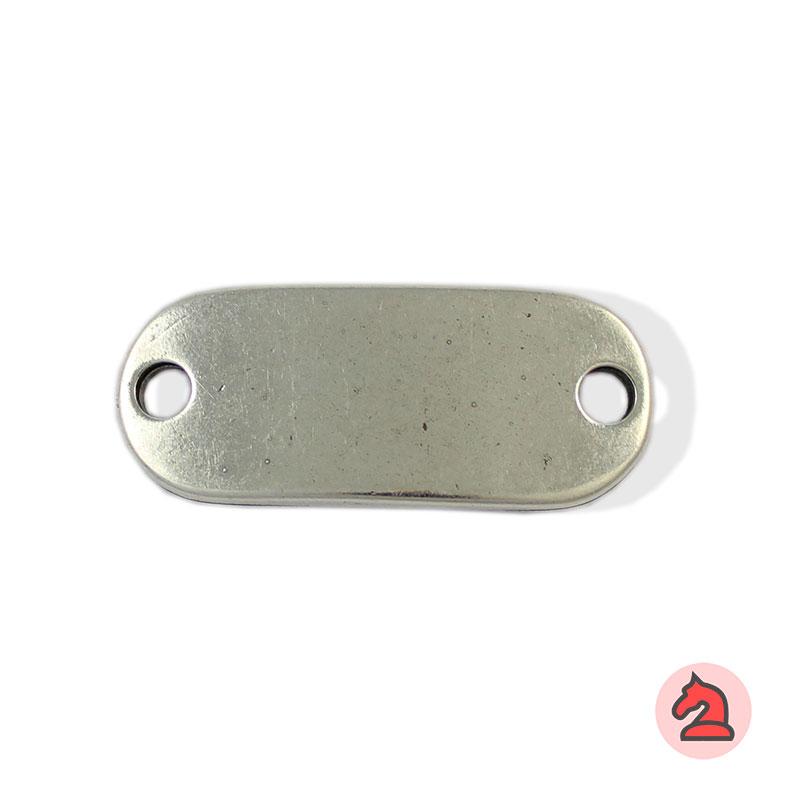 Chapa personalizable - Paquete de 10 unidadesTamaño aproximado 46X19 mm, grosor: 2.5 mm, agujero para cordón de 4.5 mm