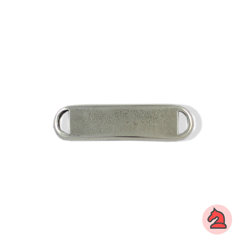 Chapa personalizable - Paquete de 20 unidadesTamaño aproximado 44X12 mm, grosor: 2.5 mm, agujeros 7X3 mm