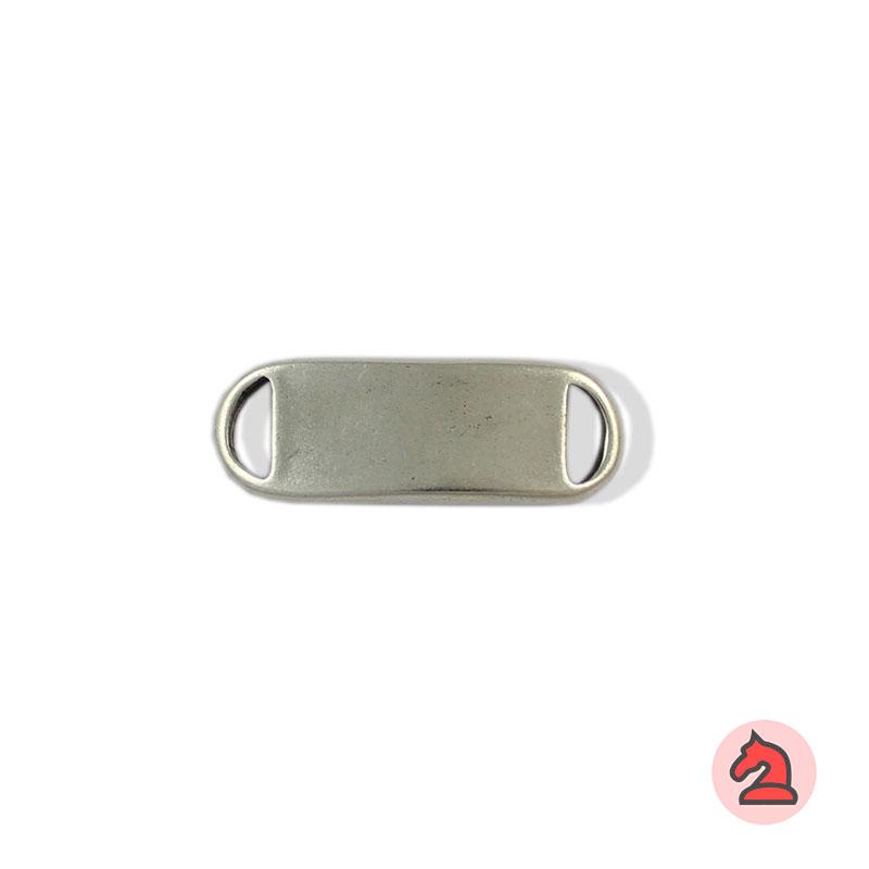Chapa personalizable - Paquete de 20 unidadesTamaño aproximado 35X12 mm, grosor: 2,4mm, agujeros 8X3 mm