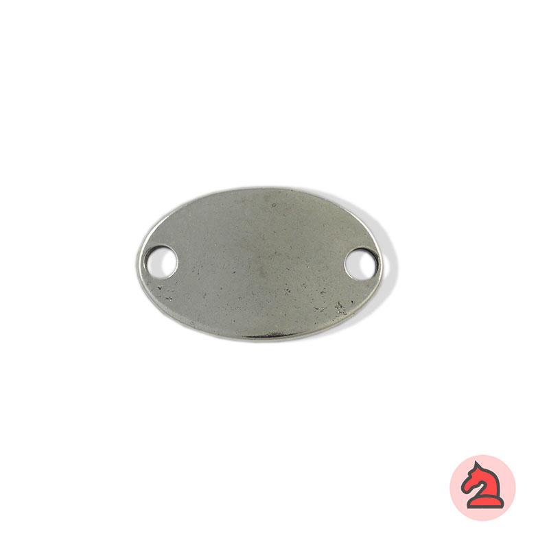 Chapa personalizable elíptica - Paquete de 10 unidadesTamaño aproximado 38X24 mm, grosor: 2.6 mm, 2 agujeros para cordón de 5 mm, curvada