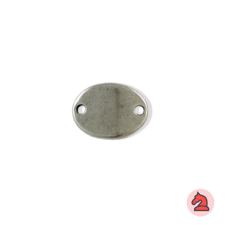 Chapa personalizable elíptica - Paquete de 10 unidadesTamaño aproximado 27X20 mm, grosor: 2.5 mm, 2 agujeros para cordón de 3 mm, curvada