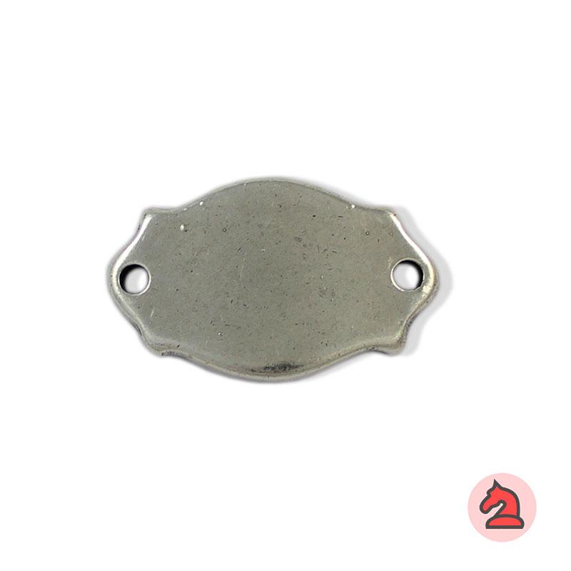 Chapa personalizable policía - Paquete de 10 unidades Tamaño aproximado 38X23 mm, grosor: 3 mm, 2 agujero para cordón de 3 mm
