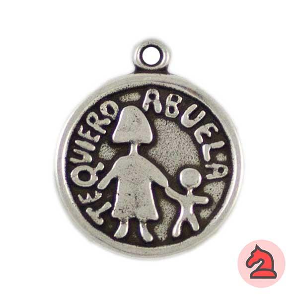 Medalla Te Quiero Abuela 24mm. Anilla 2mm - Bolsa de 15uds
