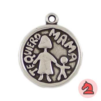 Medalla Te Quiero Mamá 24mm. Anilla 2mm - Bolsa de 15uds