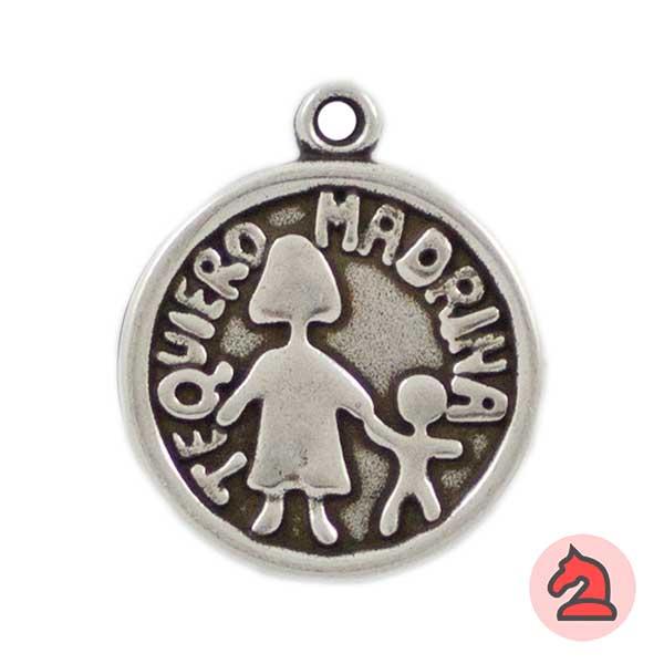 Medalla Te Quiero Madrina 24mm. Anilla 2mm - Bolsa de 15uds