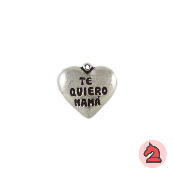 Corazón Te Quiero Mamá 19X17mm. Anilla de 1mm - Bolsa de 20uds