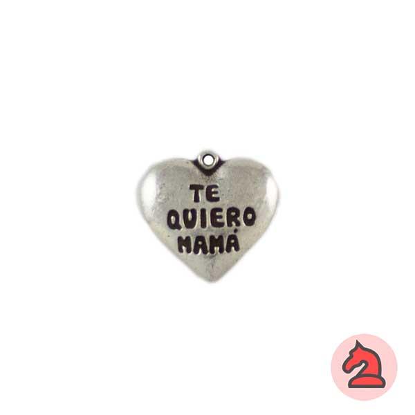 Corazón Te Quiero Mamá 19X17mm. Anilla de 1mm