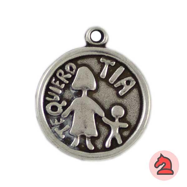 Medalla Te Quiero Tia 24mm. Anilla 2mm - Bolsa de 15uds