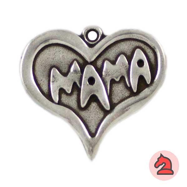 Colgante Corazón Mamá 32X30mm. Anilla 1,5mm - Bolsa de 15uds