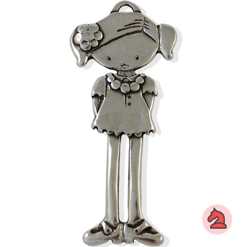 Colgante niña gigante - Paquete de 5 unidadesTamaño aproximado 11 cm, anilla para cordón de 3,5 mm