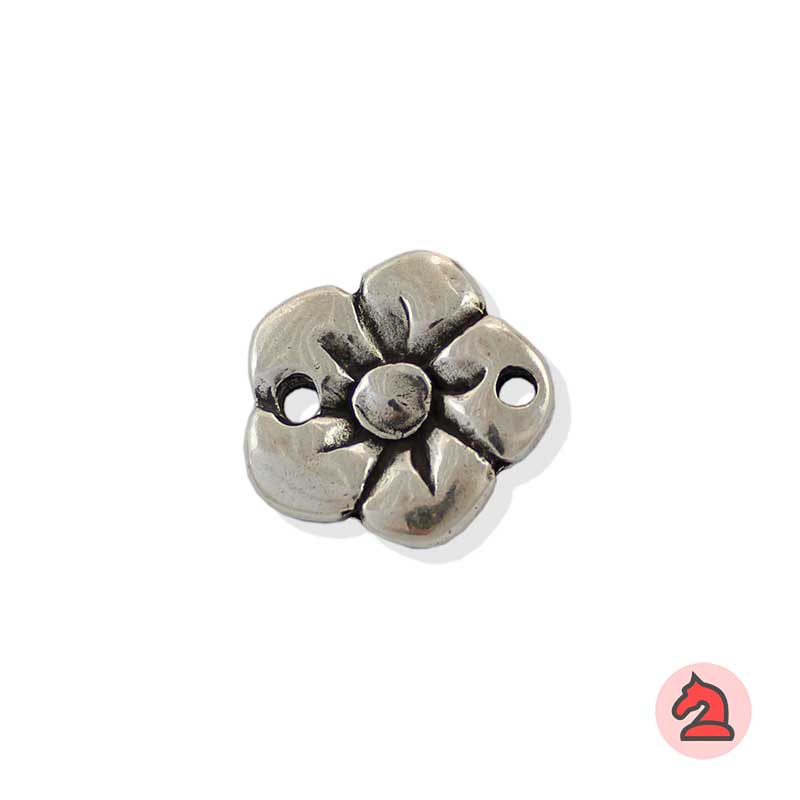 Entrepieza Flor - Paquete de 10 unidadesTamaño aproximado 22 mm, agujeros para cordón de 3 mm