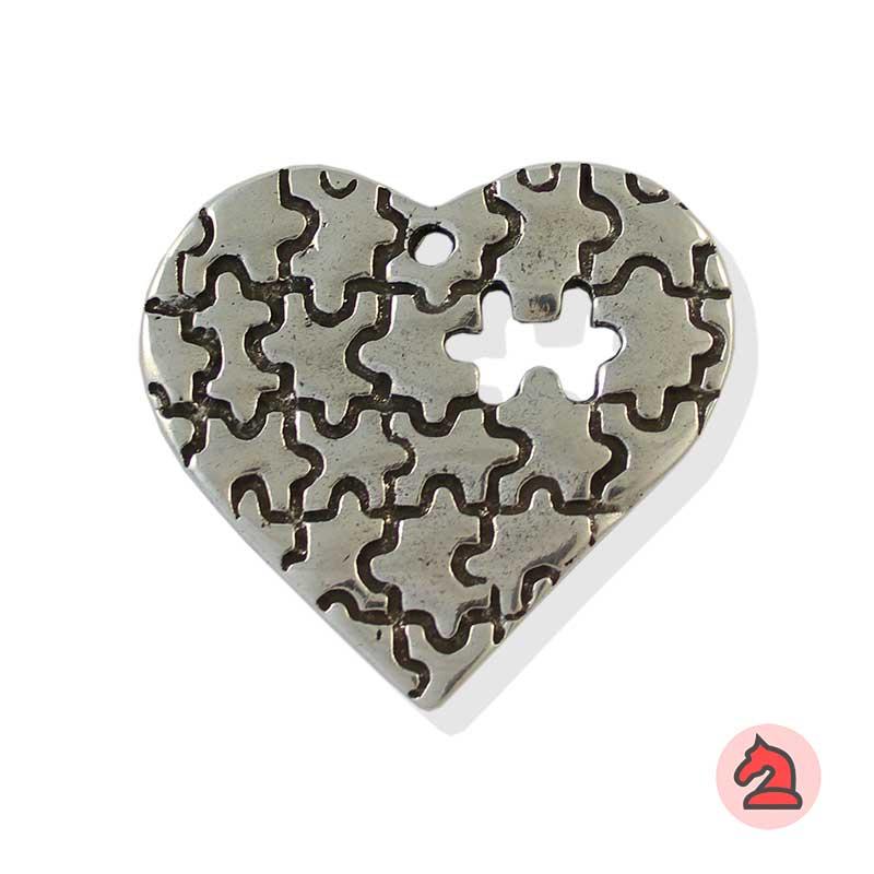 Colgante corazón puzzle - Paquete de 10 unidadesTamaño aproximado 57X54 mm, agujero para cordón de 3,5 mm