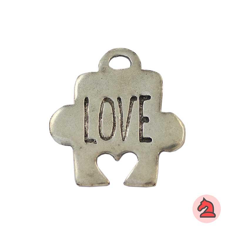 Colgante Puzzle Love - Paquete de 10 unidadesTamaño aproximado 38X28 mm, anilla para cordón de 4 mm