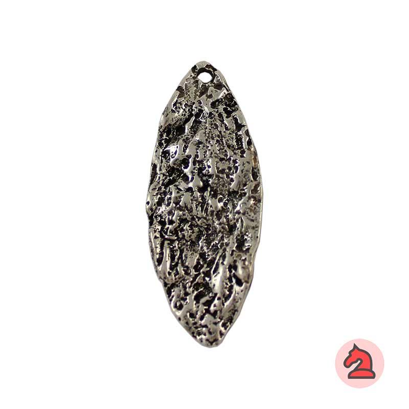 Colgante ovalado textura piedra - Paquete de 10 unidadesTamaño aproximado 61X24 mm, agujero para cordón de 2,5 mm