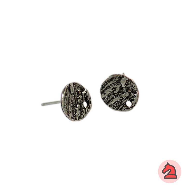 Pendiente redondo rayado 10 mm - Paquete de 30 unidadesLos pendientes en baño oro y solo en baño oro llevarán sus traseras