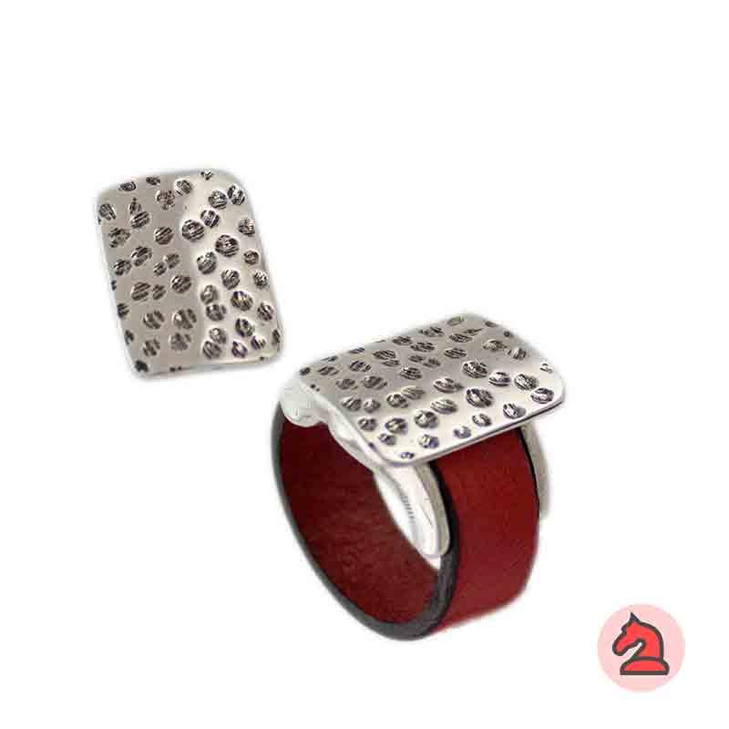 Complemento para base de anillo placa rectangular martillada 19X14mm - Paquete de 6 unidades