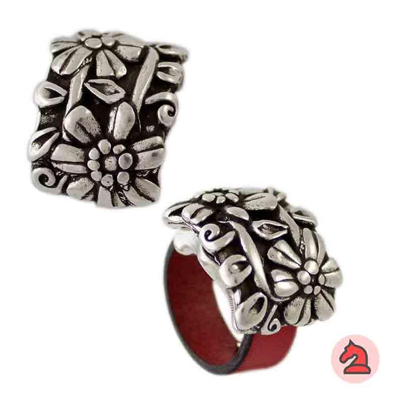 Complemento para base de anillo estampado floral 28X20mm - Paquete de 6 unidades