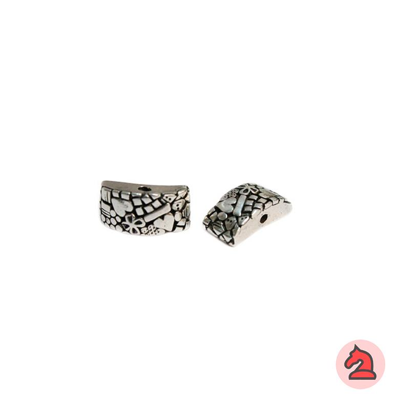 Piedra Complemento estampado corazón-flor 25X12 mm. Taladro 2,5 mm - Paquete de 5 unidades