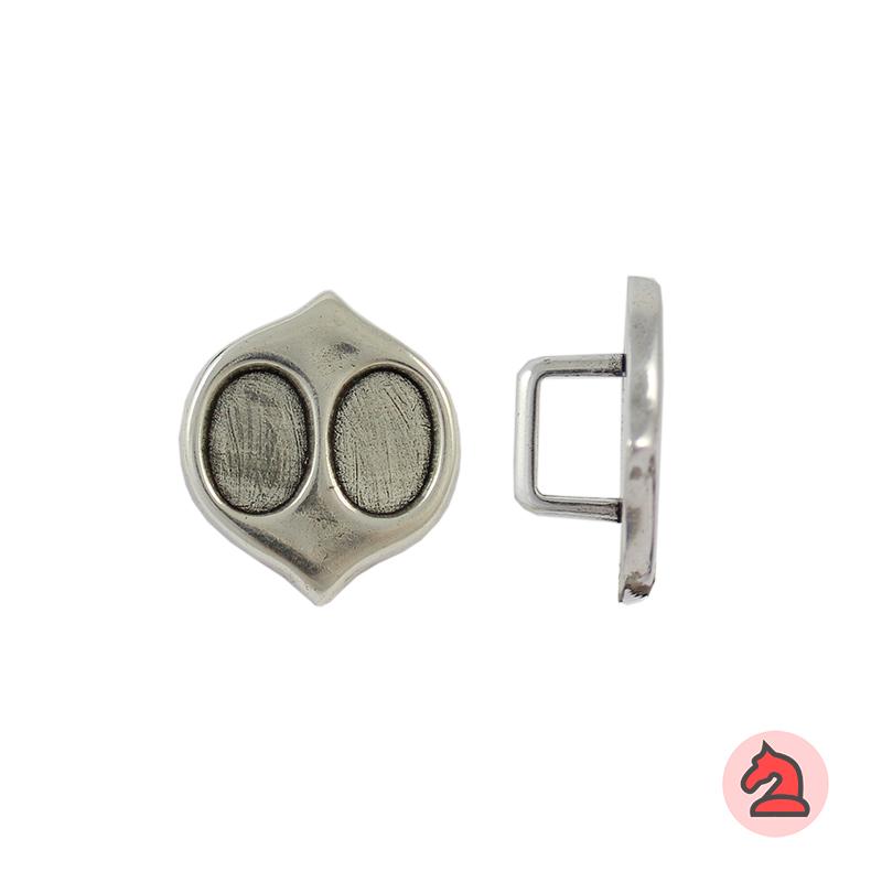 Entrepieza para cuero regaliz - Bolsa de 20 unidades Tamaño aproximado 30X27 mm, para cordón de 10X7 mm