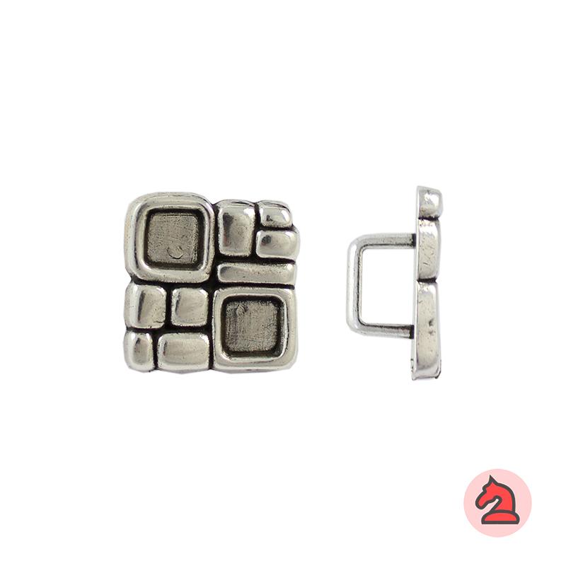 Entrepieza cuadrada para cuero regaliz - Bolsa de 20 unidades Tamaño aproximado 25X25 mm, para cordón de 10X7 mm