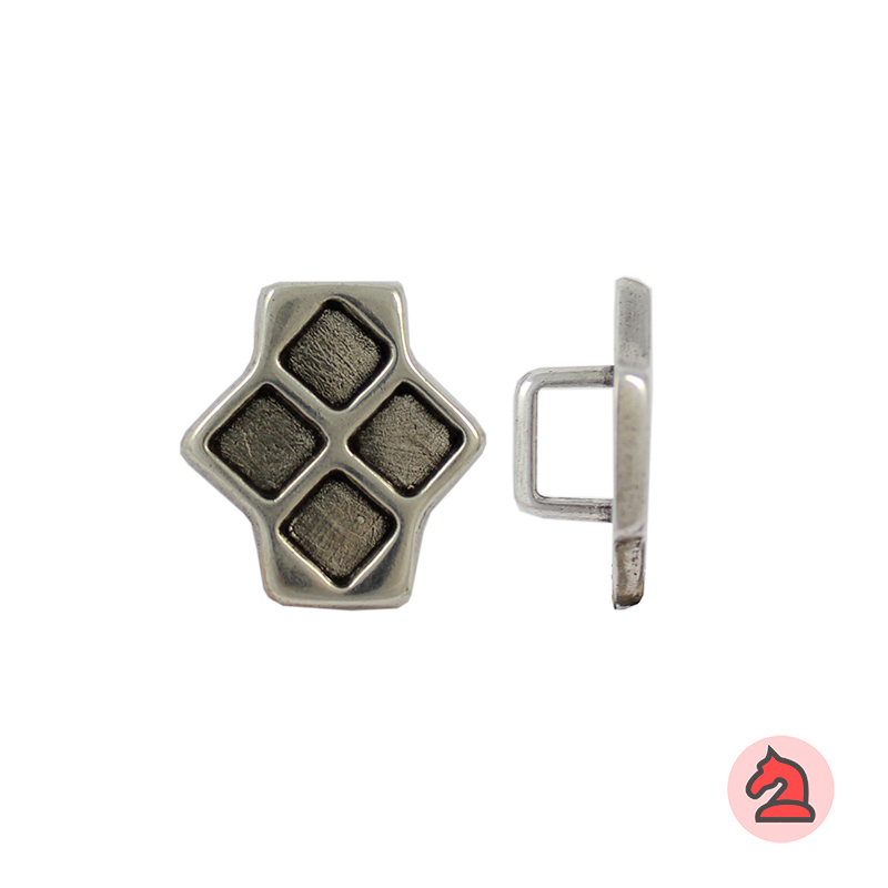 Rombo para cuero regaliz - Bolsa de 20 unidades Tamaño aproximado 32X30 mm, para cordón de 10X7 mm
