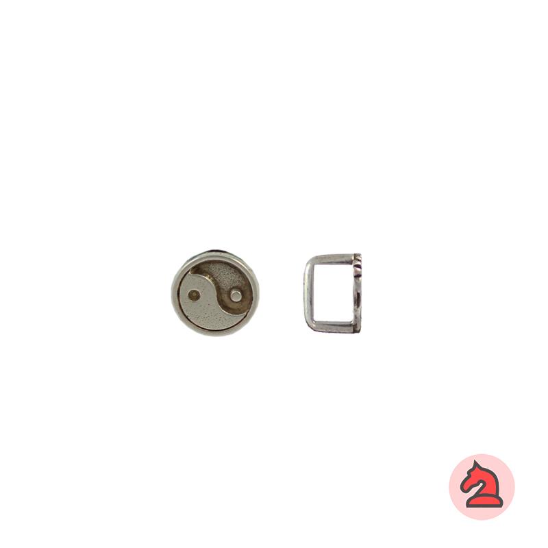 Pasador ying yang para cuero regaliz - Bolsa de 30 unidadesTamaño aproximado 12 mm, para cordón de 10X7 mm
