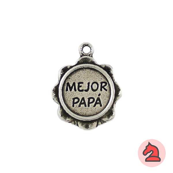 Colgante llavero medalla mejor papá 22 mm. Anilla 2,5 mm - Bolsa de 10 uds