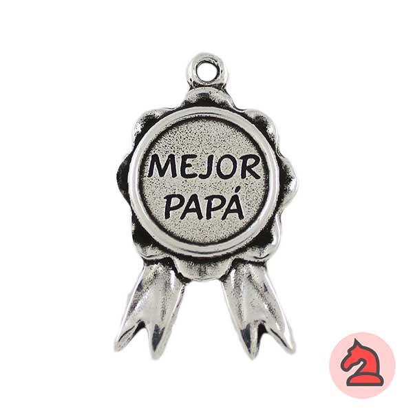 Colgante llavero medalla mejor papá 54X31 mm. Anilla 3,5 mm - Bolsa de 5 uds