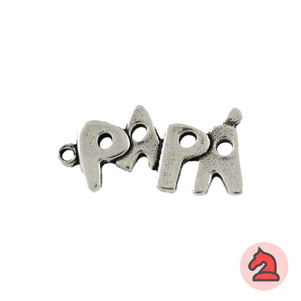 Colgante palabra PAPÁ. 37X18 mm. Anilla 2 mm - Bolsa de 10 uds