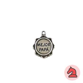 Colgante llavero medalla mejor papá 12 mm. Anilla 1,5 mm - Bolsa de 30 uds