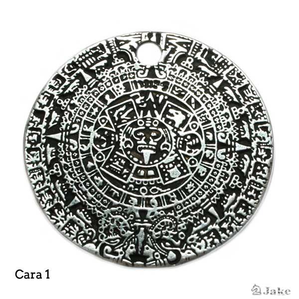 Colgante moneda calendario azteca 45 mm. Agujero 4,5 mm