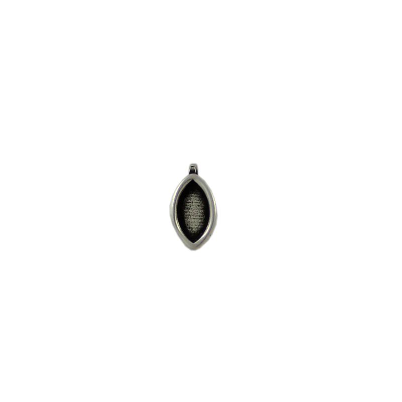 Charm oval con anilla tranversal de 1 mm - Bolsa de 30 uds Tamaño aproximado 13X8 mm, para piedra base oval 10X5 mm