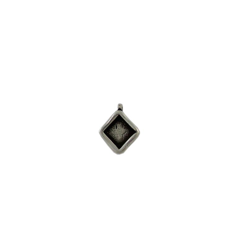 Charm cuadrado con anilla transversal de 1 mm - Bolsa de 30 uds Tamaño aproximado 9X9 mm, para decorar con piedra cuadrada 6x6 mm