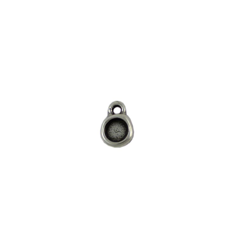 Charm redondo anilla 2 mm - Bolsa de 30 uds Tamaño aproximado 9 mm, para piedra base redonda de 6 mm