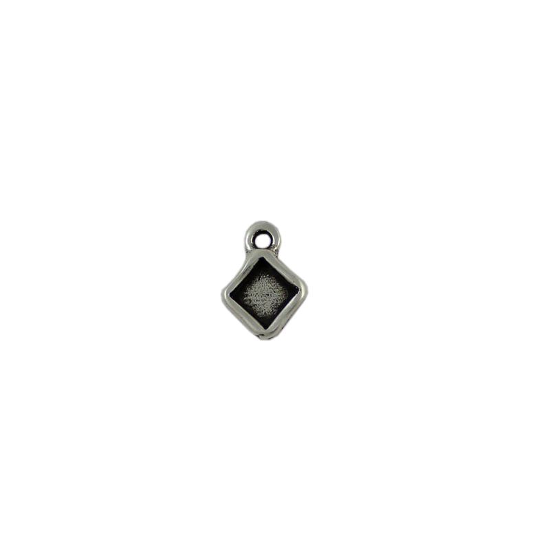 Charm cuadrado con anilla de 2 mm - Bolsa de 30 uds Tamaño aproximado 9X9 mm para piedra base cuadrada de 6X6 mm