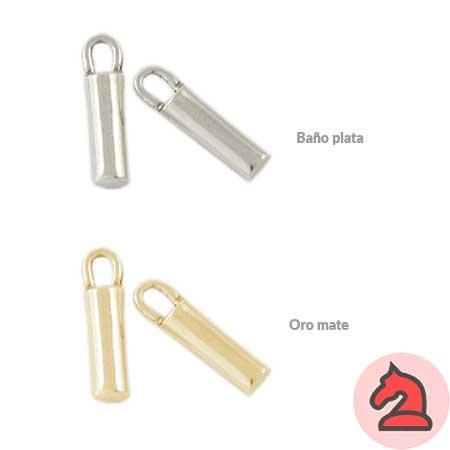 Complemento barra con anilla - Venta en bolsa de 20 unidadesMedida 23X4mm, anilla para cordón de 2,5mmDisponible en 2 acabados