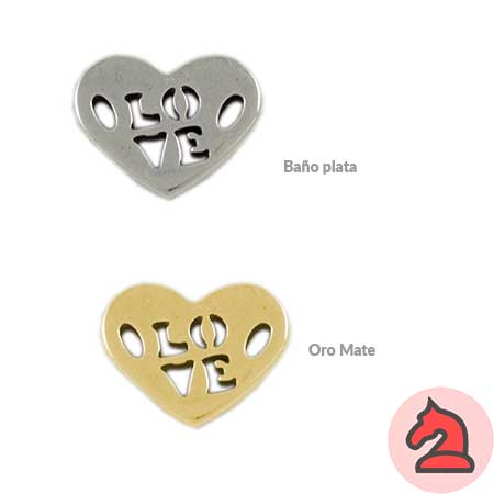 Conector corazón love, corazón 18X23mm - Venta en bolsa de 15 unidades. Material zamak con un baño de 5 micras de plata. Para cordón de 2mm