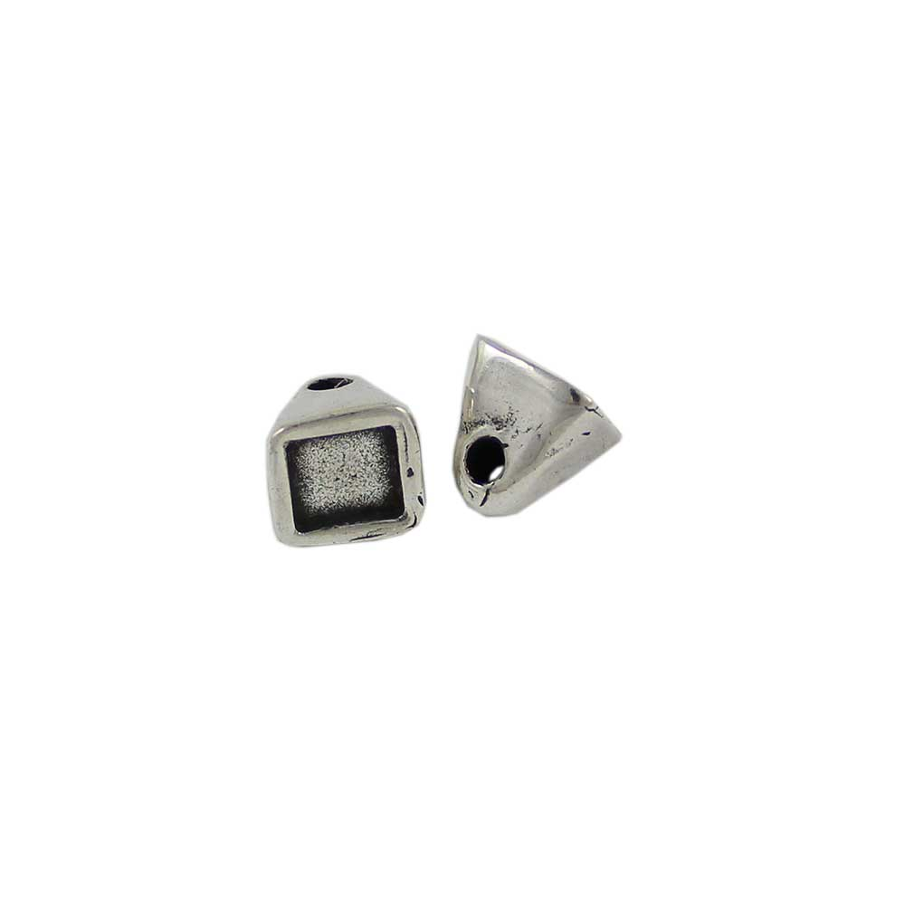 Enfilado Cono cuadrado, 13mm, agujero 2mm. Para cristal 8X8 mm - Bolsa de 30 unidades