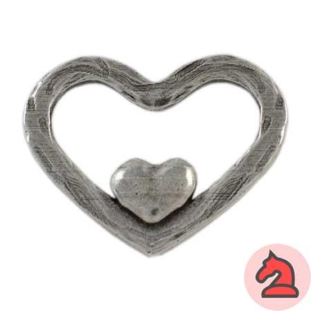 Colgante corazón en corazón - Venta en bolsa de 5 unidadesTamaño aprox 41X50mmMaterial de zamak con 5 micras de plata