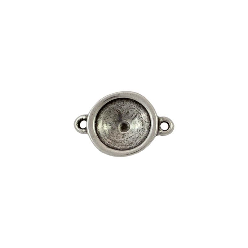 Entrepieza para cristal redondo - Bolsa de 5 unidades Tamaño aproximado 20 mm, anillas para cordón de 2 mm