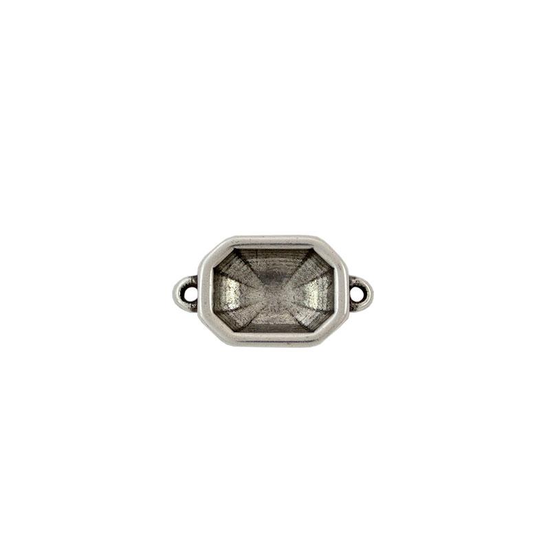 Entrepieza para cristal octagonal - Bolsa de 5 unidades Tamaño aproximado 24X18 mm, anillas para cordón de 2 mm
