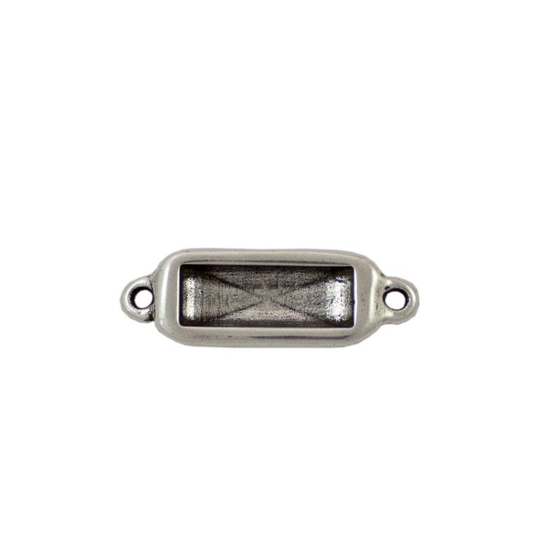 Entrepieza para cristal rectangular - Bolsa de 5 unidades Tamaño aproximado 30X12 mm, anillas para cordón de 2 mm